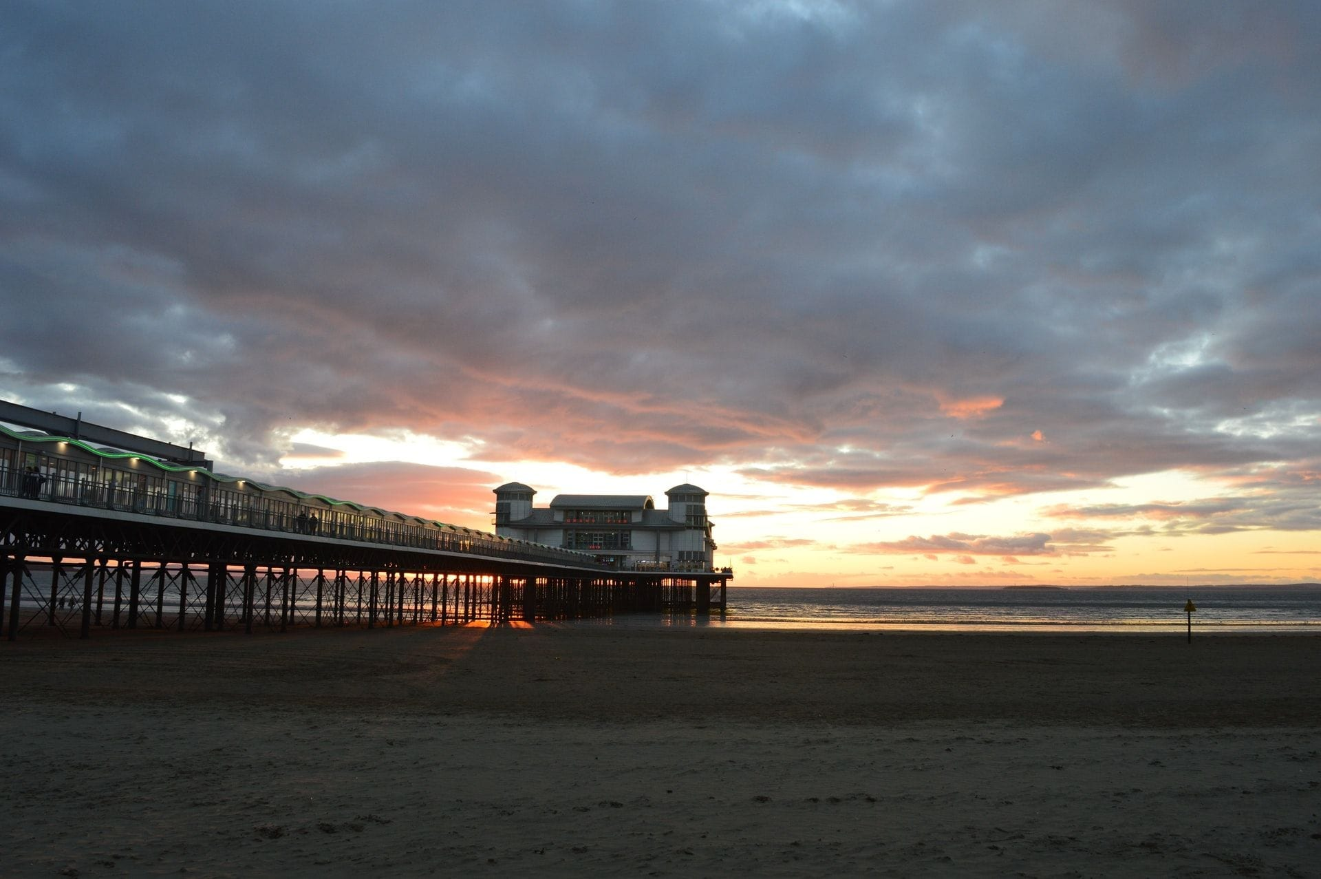 sunset-on-beach-over-pier-at-weston-super-mare