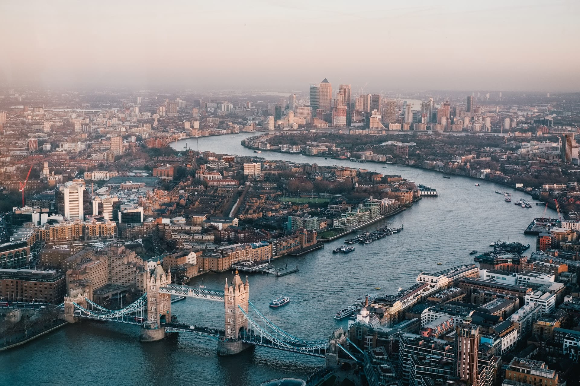 aerial-view-of-tower-bridge-and-the-river-thames-in-london-at-sunset